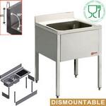 1 medencés mosogató csepptálca nélkül, lapraszerelt kivitelben, 700 mm-es
