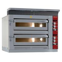elektromos 2 aknás pizzasütő kemence, 2*6 db Ø350 mm-es pizza kapacitással