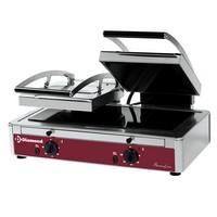 kontakt grill, felül bordázott alul sima 558x270 mm-es üvegkerámia sütőfelülettel