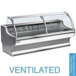 1500 mm-es hűtőpult, ventilációs, íves alukeretes frontüveggel