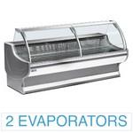 2500 mm-es hűtőpult, statikus, íves alukeretes frontüveggel