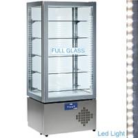 490 literes gördíthető panoráma mélyhűtő vitrin, 5 üvegpolccal, festett acél kivitelben, ventilációs