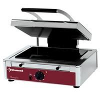 kontakt grill, felül bordázott alul sima 360x270 mm-es üvegkerámia sütőfelülettel