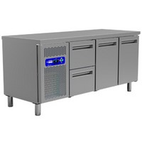 405 literes hűtött munkaasztal, 2 ajtós és 2 fiókos, GN 1/1-es belmérettel, 0/+8°C