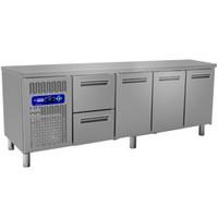 550 literes hűtött munkaasztal, 3 ajtós és 2 fiókos, GN 1/1-es belmérettel, 0/+8°C