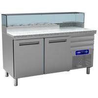 300 literes hűtött pizzaelőkészítő munkaasztal 6*GN 1/4-es feltéthűtővel, gránit fedlappal, 2 ajtóval és 3 fiókkal, 600*400 mm-es belmérettel, 0/+8 és +4/+10°C