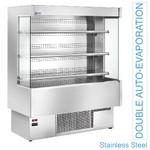 2000 mm-es hűtött fali regál, üveg oldalfalakkal, ventilációs, rozsdamentes acél