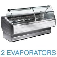 2500 mm-es hűtőpult, statikus, íves lehajtható frontüveggel