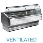 2500 mm-es hűtőpult, ventilációs, íves lehajtható frontüveggel
