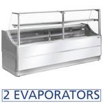 2000 mm-es hűtőpult, statikus, egyenes alukeretes frontüveggel, alsó hűtött tárolóval