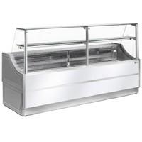 2500 mm-es hűtőpult, statikus, egyenes alukeretes frontüveggel, alsó hűtött tároló nélkül