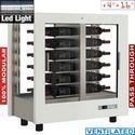216 literes kétoldalú sorolható borhűtő vitrin, ventilációs, fektetett tároláshoz, fehér dekorral