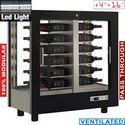 216 literes kétoldalú sorolható borhűtő vitrin, ventilációs, fektetett tároláshoz, fekete dekorral