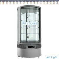 790 literes köralakú gördíthető panoráma hűtővitrin, 5 forgó üvegpolccal, festett acél kivitelben, ventilációs