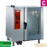 gázos légkeveréses gőzpároló, 10x GN 1/1 tálcás, direkt gőzbefecskendezéssel