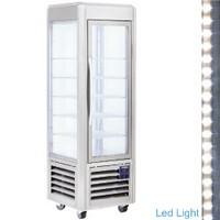 360 literes gördíthető panoráma mélyhűtő vitrin, 5 rácspolccal, rozsdamentes acél kivitelben, ventilációs