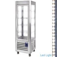 360 literes gördíthető panoráma mélyhűtő vitrin, 5 rácspolccal, antracit színű kivitelben, ventilációs