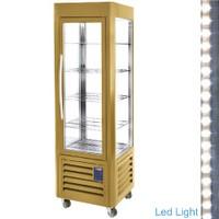 360 literes gördíthető panoráma mélyhűtő vitrin, 5 rácspolccal, arany színű kivitelben, ventilációs