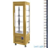 360 literes gördíthető panoráma hűtővitrin, 5 rácspolccal, arany színű kivitelben