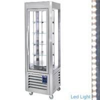 360 literes gördíthető panoráma hűtővitrin, 5 forgó üvegpolccal, rozsdamentes acél kivitelben