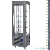 360 literes gördíthető panoráma hűtővitrin, 5 forgó üvegpolccal, antracit színű kivitelben