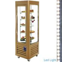 360 literes gördíthető panoráma hűtővitrin, 5 forgó üvegpolccal, arany színű kivitelben
