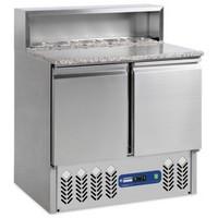 240 literes hűtött pizzaelőkészítő munkaasztal 5*GN 1/6-os feltéthűtővel, gránit fedlappal, 2 ajtóval, GN 1/1-es belmérettel, +4/+10°C