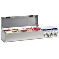 asztali feltéthűtő felhajtható fedéllel, 2x GN 1/4 + 3x GN 1/6 + 3x GN 1/9-es, 0/+8°C