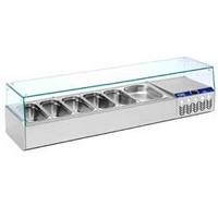 asztali feltéthűtő leheletvédővel, 1x GN 1/2 + 5x GN 1/3-os, 0/+8°C