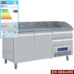 312 literes hűtött pizzaelőkészítő munkaasztal, gránit fedlappal, 2 ajtóval és 2 fiókkal, 600x400 mm-es belmérettel, -2/+8°C