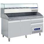 312 literes hűtött pizzaelőkészítő munkaasztal, GN 1/3 osztású feltéthűtővel, gránit fedlappal, 2 ajtóval és 2 fiókkal, 600x400 mm-es belmérettel, -2/+8°C