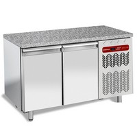 345 literes mélyhűtött munkaasztal cukrászati és sütőipari célra, gránit fedlappal, 2 ajtóval, 600*400 mm-es belmérettel, -10/-20°C