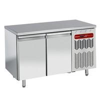 345 literes mélyhűtött munkaasztal cukrászati és sütőipari célra, rozsdamentes fedlappal, 2 ajtóval, 600*400 mm-es belmérettel, -10/-20°C