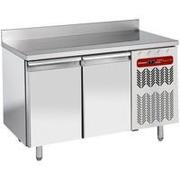 345 literes hűtött munkaasztal cukrászati és sütőipari célra, rozsdamentes fedlappal, hátsó felhajtással, 2 ajtóval, 600*400 mm-es belmérettel, -2/+8°C