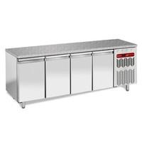 760 literes hűtött munkaasztal cukrászati és sütőipari célra, gránit fedlappal, 4 ajtóval, 600*400 mm-es belmérettel, -2/+8°C