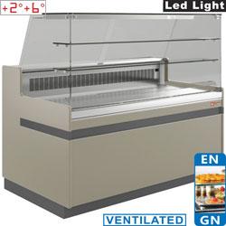hűtőpult, ventilációs, 1000 mm-es, egyenes 2 polcos frontüveggel, hűtött tároló nélkül,  tópszínű