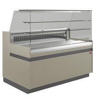 hűtőpult, ventilációs, 1038 mm-es, egyenes 2 polcos frontüveggel, hűtött tároló nélkül,  tópszínű