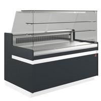 hűtőpult, ventilációs, 1338 mm-es, egyenes 2 polcos frontüveggel, hűtött tároló nélkül, fekete