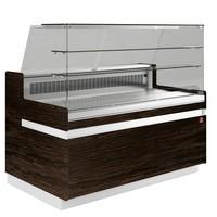hűtőpult, ventilációs, 1338 mm-es, egyenes 2 polcos frontüveggel, hűtött tároló nélkül, sötét faszínű