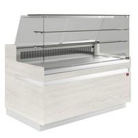 hűtőpult, ventilációs, 1338 mm-es, egyenes 2 polcos frontüveggel, hűtött tároló nélkül, világos faszínű