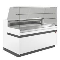 hűtőpult, ventilációs, 1538 mm-es, egyenes 2 polcos frontüveggel, hűtött tároló nélkül, fehér