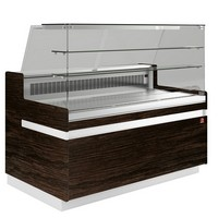 hűtőpult, ventilációs, 2538 mm-es, egyenes 2 polcos frontüveggel, hűtött tároló nélkül, sötét faszínű