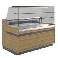 hűtőpult, ventilációs, 2538 mm-es, egyenes 2 polcos frontüveggel, hűtött tároló nélkül, normál faszínű