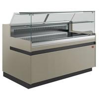 hűtőpult, ventilációs, 1338 mm-es, egyenes 1 polcos frontüveggel, hűtött tároló nélkül,  tópszínű