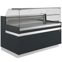 hűtőpult, ventilációs, 1538 mm-es, egyenes 1 polcos frontüveggel, hűtött tároló nélkül, fekete