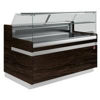 hűtőpult, ventilációs, 1538 mm-es, egyenes 1 polcos frontüveggel, hűtött tároló nélkül, sötét faszínű