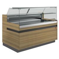hűtőpult, ventilációs, 1538 mm-es, egyenes 1 polcos frontüveggel, hűtött tároló nélkül, normál faszínű