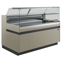 hűtőpult, ventilációs, 2138 mm-es, egyenes 1 polcos frontüveggel, hűtött tároló nélkül,  tópszínű