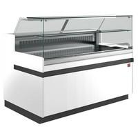 hűtőpult, ventilációs, 2538 mm-es, egyenes 1 polcos frontüveggel, hűtött tároló nélkül, fehér