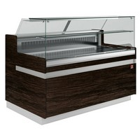 hűtőpult, ventilációs, 2538 mm-es, egyenes 1 polcos frontüveggel, hűtött tároló nélkül, sötét faszínű